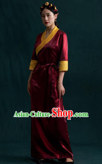 Traditional Chinese Zang Nationality Dance Costumes Wine Red Tibetan Robe Ethnic Folk Dance Dress for Women
