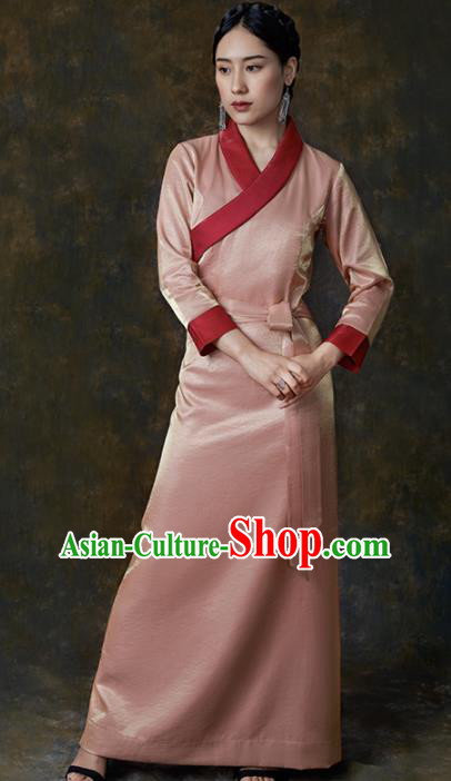Traditional Chinese Zang Nationality Dance Costumes Pink Tibetan Robe Ethnic Folk Dance Dress for Women