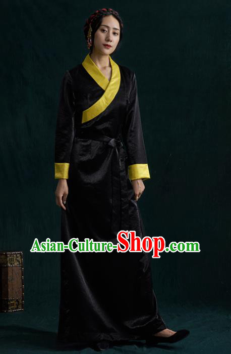 Traditional Chinese Zang Nationality Dance Costumes Black Tibetan Robe Ethnic Folk Dance Dress for Women