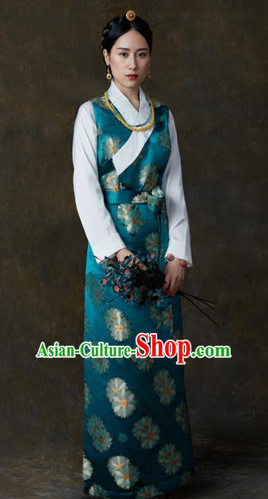 Traditional Chinese Zang Nationality Dance Costumes Blue Tibetan Robe Ethnic Folk Dance Dress for Women