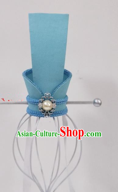 Chinese Ancient Nobility Childe Hair Accessories Han Dynasty Prince Swordsman Blue Hairdo Crown Headwear for Men