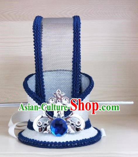 Chinese Ancient Nobility Childe Hair Accessories Han Dynasty Bridegroom Royalblue Headwear for Men