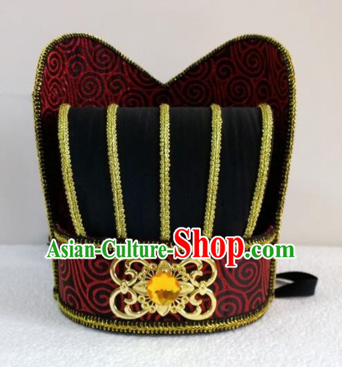 Chinese Ancient Scholar Official Hair Accessories Han Dynasty Minister Hat Headwear for Men