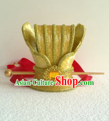 Chinese Ancient Prince Hair Accessories Tang Dynasty Emperor Golden Hairpins Headwear for Men