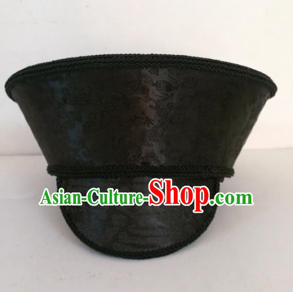 Chinese Ancient Manchu Queen Hair Accessories Qing Dynasty Empress Black Hat Headwear for Women