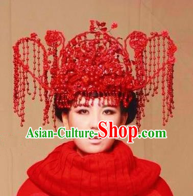 Chinese Ancient Bride Red Phoenix Coronet Wedding Hair Accessories Hairpins Headwear for Women