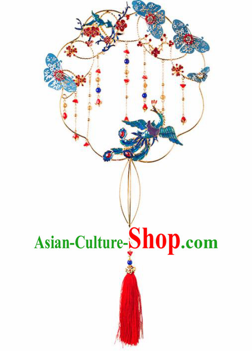 Chinese Ancient Wedding Accessories Bride Palace Fans Handmade Blueing Round Fan for Women