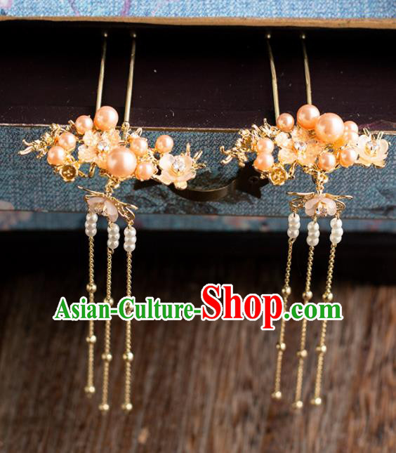 Chinese Ancient Bride Wedding Hair Accessories Tassel Hair Clips Hanfu Hairpins Headwear for Women