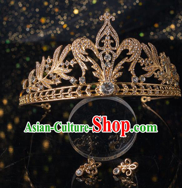 Top Grade Handmade Wedding Hair Accessories Bride Golden Crystal Royal Crown Headwear for Women