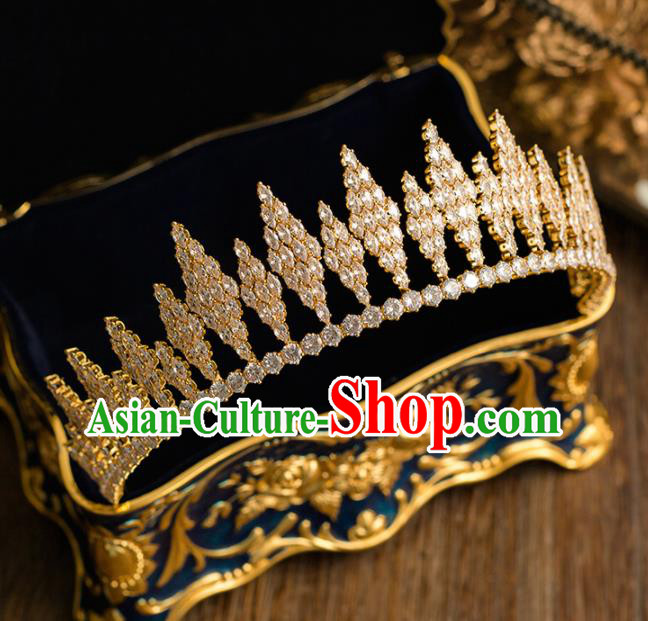Top Grade Handmade Wedding Bride Hair Accessories Princess Golden Crystal Royal Crown Headwear for Women