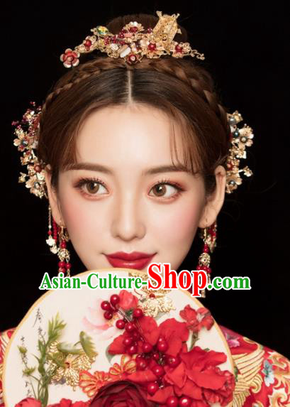 Chinese Ancient Palace Bride Wedding Hair Accessories Tassel Hairpins Headwear for Women
