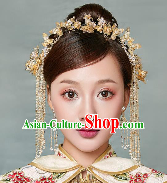 Chinese Ancient Palace Bride Tassel Hair Clips Wedding Hair Accessories Hairpins Headwear for Women