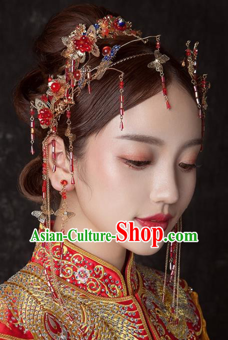 Chinese Ancient Palace Bride Hair Accessories Wedding Tassel Hair Clasp Hairpins Headwear for Women