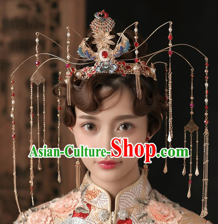Chinese Ancient Bride Luxurious Phoenix Coronet Wedding Hair Accessories Palace Tassel Hairpins Headwear for Women