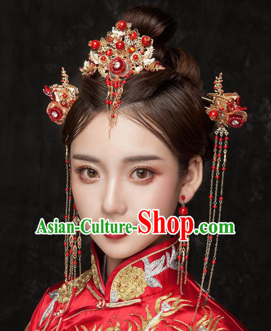 Chinese Ancient Palace Bride Hair Accessories Wedding Red Phoenix Coronet Hairpins Headwear for Women