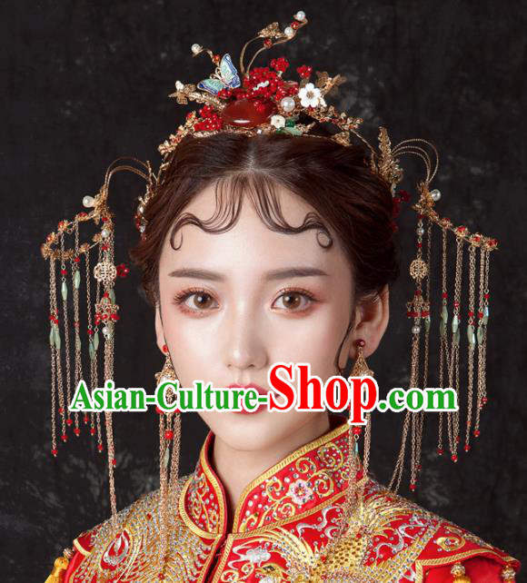 Chinese Ancient Palace Bride Hair Accessories Wedding Agate Phoenix Coronet Hairpins Headwear for Women