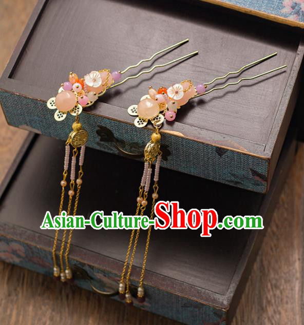 Chinese Ancient Bride Hair Clips Wedding Hair Accessories Palace Tassel Hairpins Headwear for Women