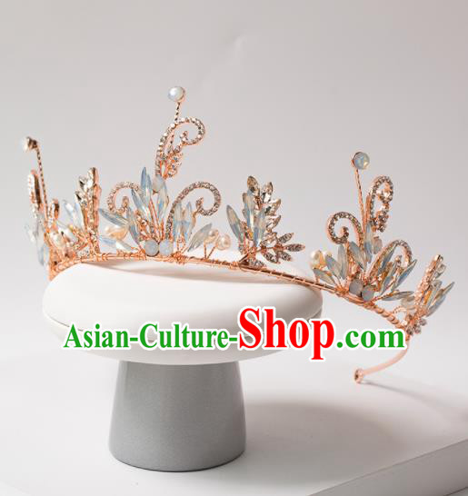Top Grade Handmade Wedding Princess Hair Accessories Bride Opal Royal Crown Headwear for Women