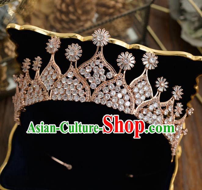 Top Grade Handmade Wedding Princess Hair Accessories Bride Royal Crown Headwear for Women