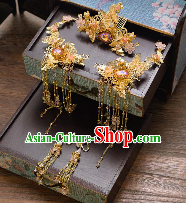 Chinese Ancient Palace Bride Hair Accessories Hanfu Golden Hair Comb Hairpins Headwear for Women