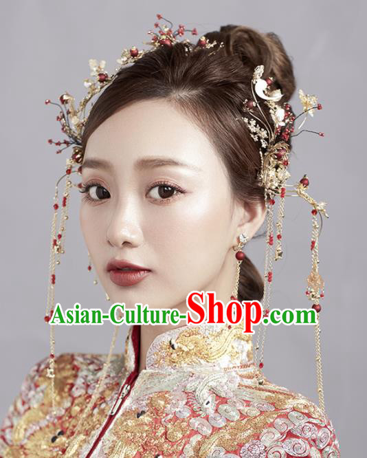 Chinese Ancient Palace Hair Accessories Bride Hanfu Hair Clips Tassel Hairpins Headwear for Women
