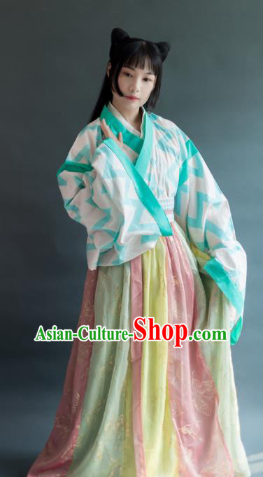 Chinese Traditional Jin Dynasty Female Historical Costumes Ancient Palace Princess Hanfu Dress for Women