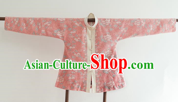 Chinese Ancient Ming Dynasty Historical Costumes Traditional Watermelon Red Blouse for Women