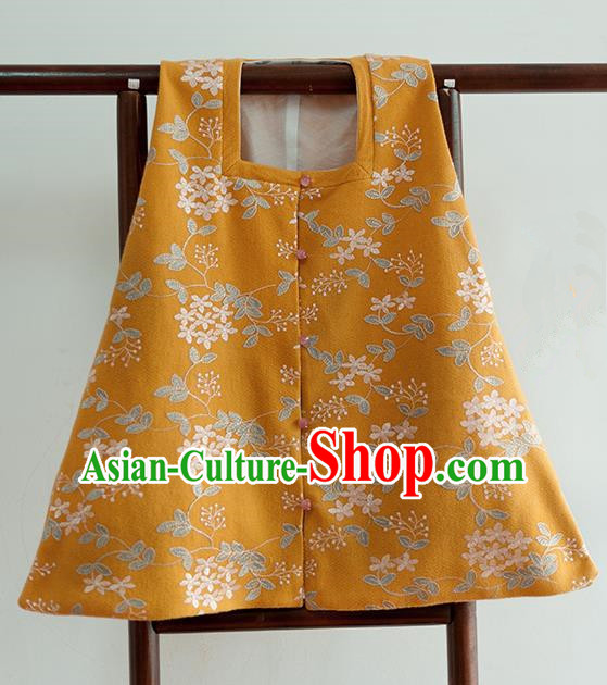 Chinese Ancient Ming Dynasty Historical Costumes Traditional Square Collar Yellow Vest for Women