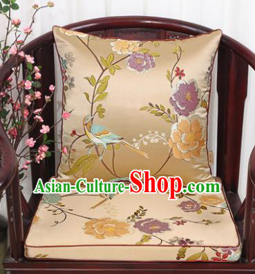 Chinese Classical Household Ornament Flowers and Birds Pattern Golden Brocade Back Cushion Cover and Armchair Mat