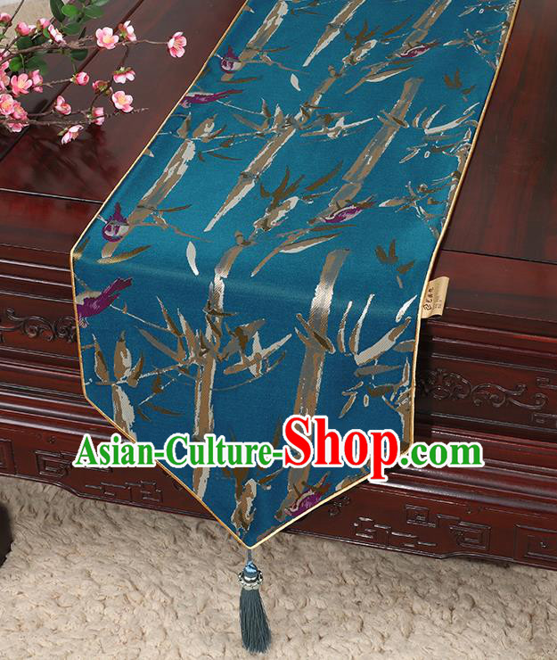 Chinese Classical Household Ornament Blue Brocade Table Flag Traditional Handmade Bamboo Pattern Table Cloth