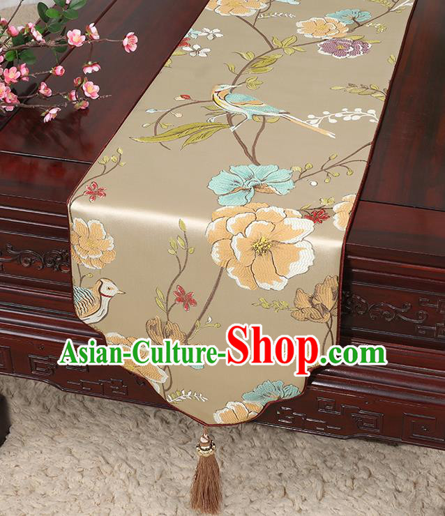 Chinese Classical Household Ornament Flowers and Bird Pattern Khaki Brocade Table Flag Traditional Handmade Table Cloth