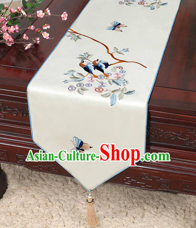 Chinese Classical Household Ornament Bird Pattern White Brocade Table Flag Traditional Handmade Table Cloth