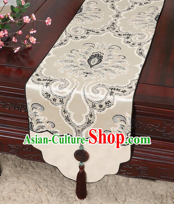 Chinese Classical Household Ornament Jade Pendant Tassel Khaki Brocade Table Flag Traditional Handmade Table Cover Cloth