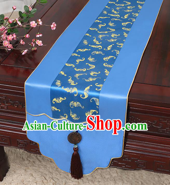 Chinese Classical Household Ornament Jade Pendant Tassel Royalblue Brocade Table Flag Traditional Handmade Table Cover Cloth