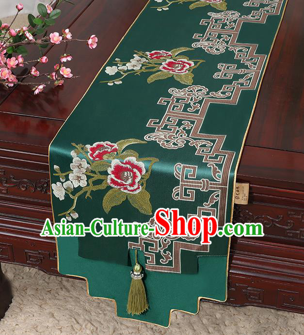 Chinese Classical Household Ornament Green Brocade Table Flag Traditional Handmade Jade Pendant Table Cover Cloth