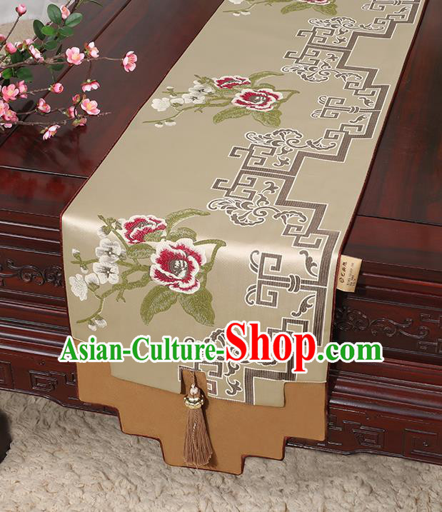 Chinese Classical Household Ornament Khaki Brocade Table Flag Traditional Handmade Jade Pendant Table Cover Cloth