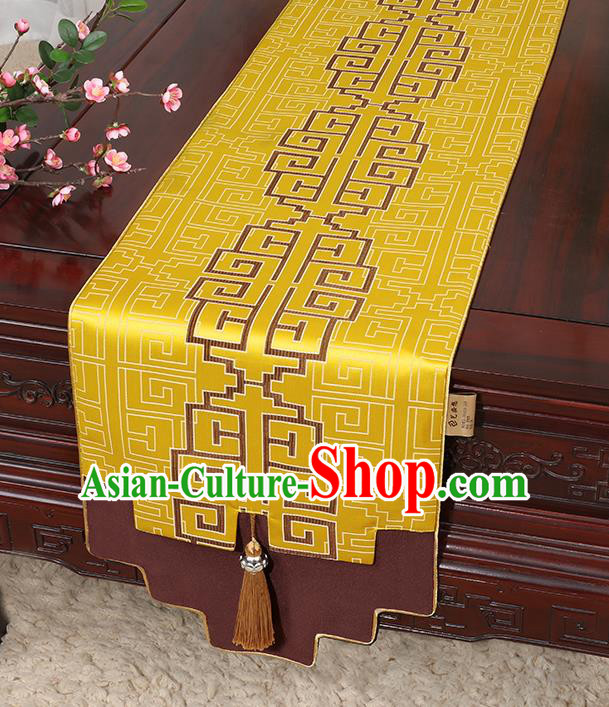 Chinese Classical Household Ornament Bright Yellow Brocade Table Flag Traditional Handmade Jade Pendant Table Cover Cloth