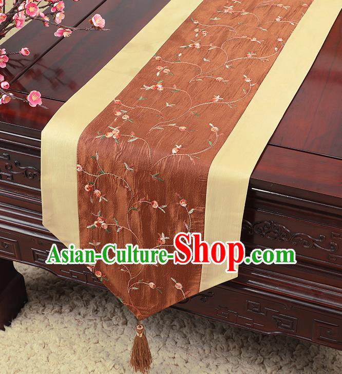 Chinese Traditional Handmade Table Cover Cloth Classical Household Ornament Brown Brocade Table Flag