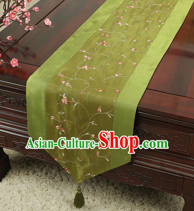 Chinese Traditional Handmade Table Cover Cloth Classical Household Ornament Green Brocade Table Flag