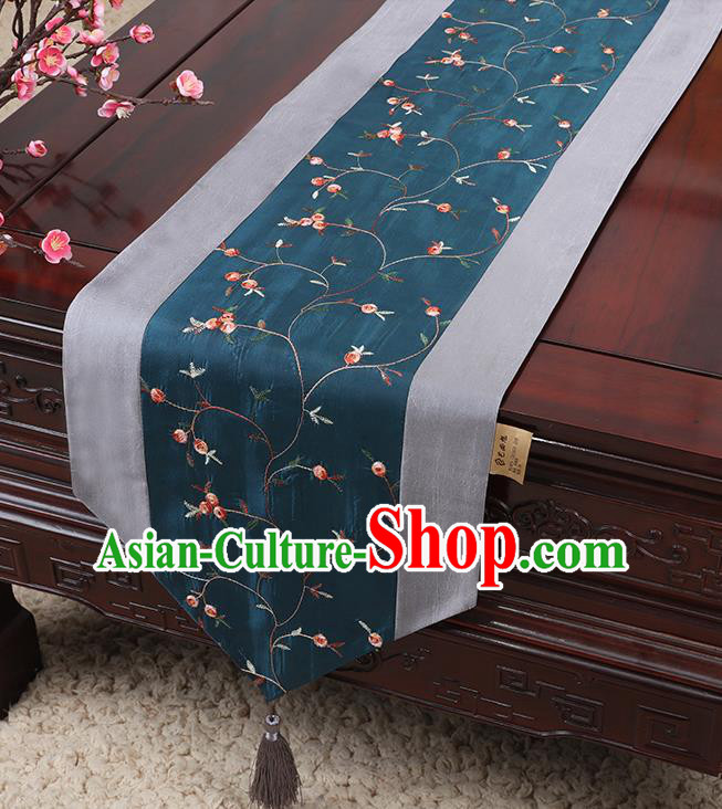 Chinese Traditional Handmade Table Cover Cloth Classical Household Ornament Navy Brocade Table Flag