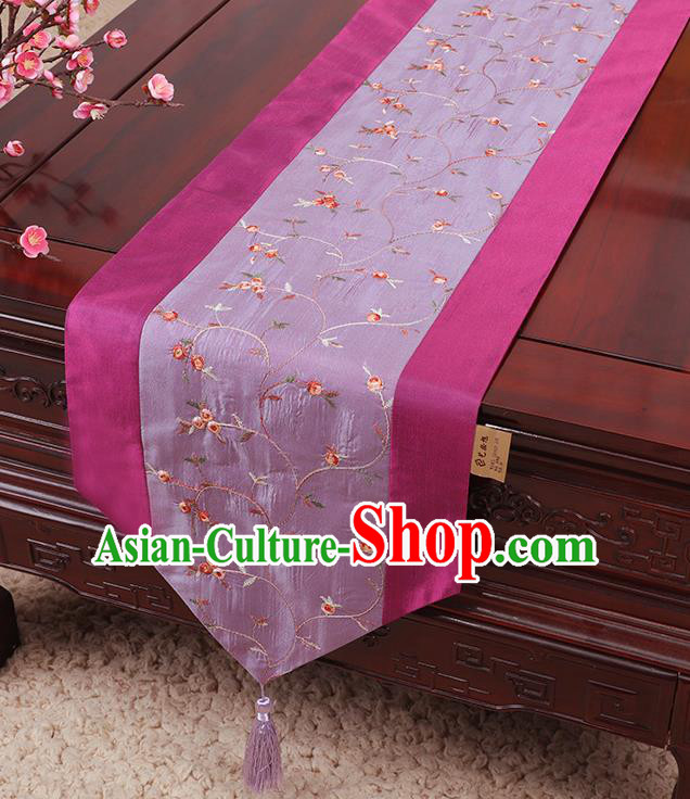 Chinese Traditional Handmade Table Cover Cloth Classical Household Ornament Purple Brocade Table Flag