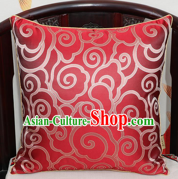 Chinese Classical Household Ornament Traditional Red Brocade Back Cushion Cover