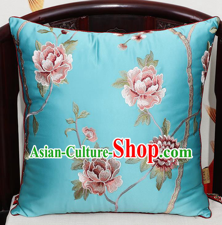 Chinese Classical Household Ornament Traditional Blue Brocade Back Cushion Cover