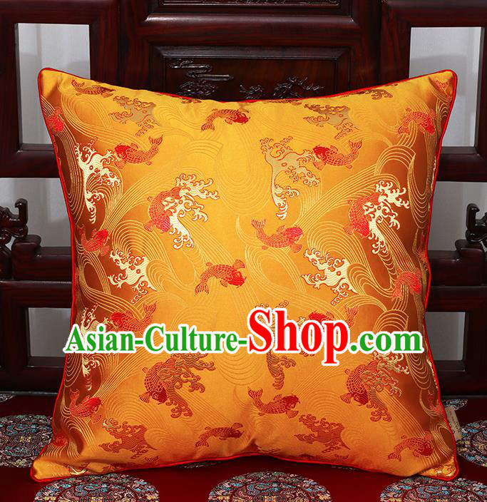 Chinese Classical Household Ornament Traditional Golden Brocade Back Cushion Cover