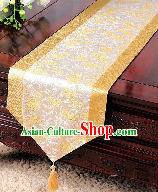 Chinese Traditional Table Cloth Classical Handmade Household Ornament Chrysanthemum Pattern Golden Brocade Table Flag