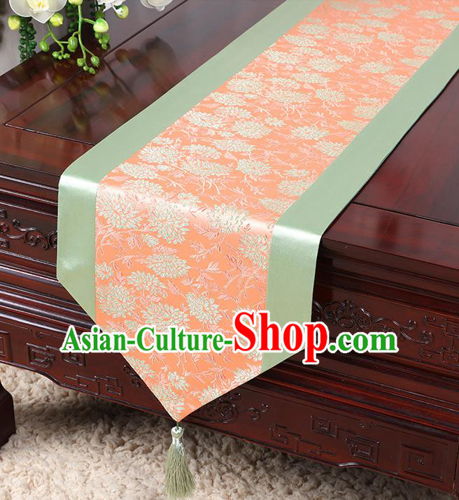 Chinese Traditional Table Cloth Classical Handmade Household Ornament Chrysanthemum Pattern Brocade Table Flag