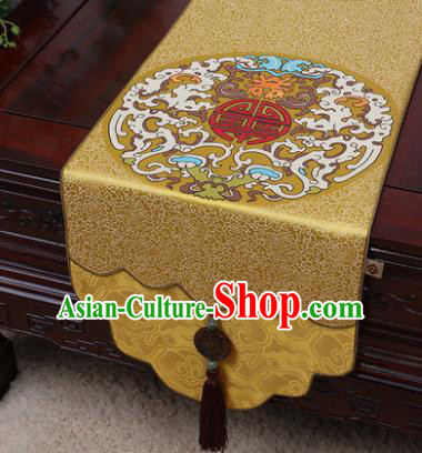 Chinese Traditional Pattern Golden Brocade Table Cloth Classical Household Ornament Table Flag