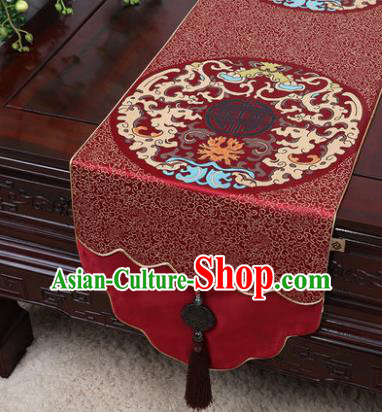 Chinese Traditional Pattern Wine Red Brocade Table Cloth Classical Household Ornament Table Flag