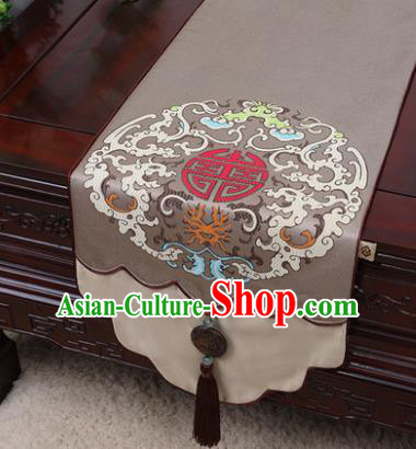 Chinese Traditional Pattern Brown Brocade Table Cloth Classical Household Ornament Table Flag