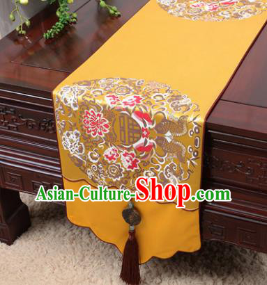 Chinese Traditional Lotus Pattern Golden Brocade Table Cloth Classical Household Ornament Table Flag